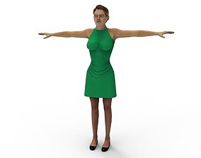 Green Dress Mature Fbx Chracter Mom Mature 3D asset