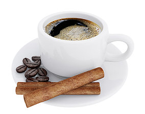 3D Coffee cup with cinnamon sticks and coffee beans