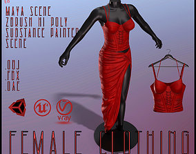 3D asset low-poly Female Red Dress