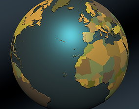 Political map earth globe with countries 3D model