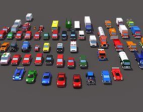 3D asset 63 lowpoly vehicles