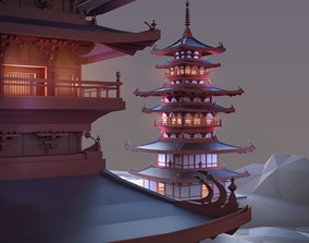 Pagoda Low Poly 3D asset