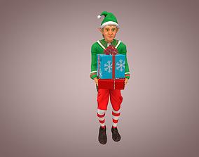 3D model animated Christmas Elven