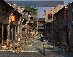 3D model Chinese Medival Village with Citizens