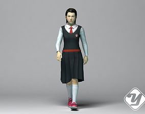 Young Asian Female Student Model 3D asset