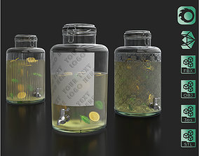3D model Glass jars dispensers with a tap and lemonade