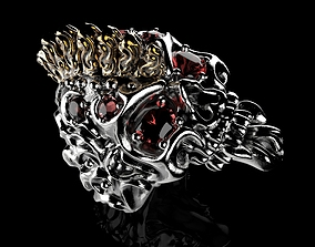 3D print model Badass Gothic Punk Skull Ring With Setting