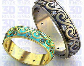 Wedding rings with Enamel 615 3D