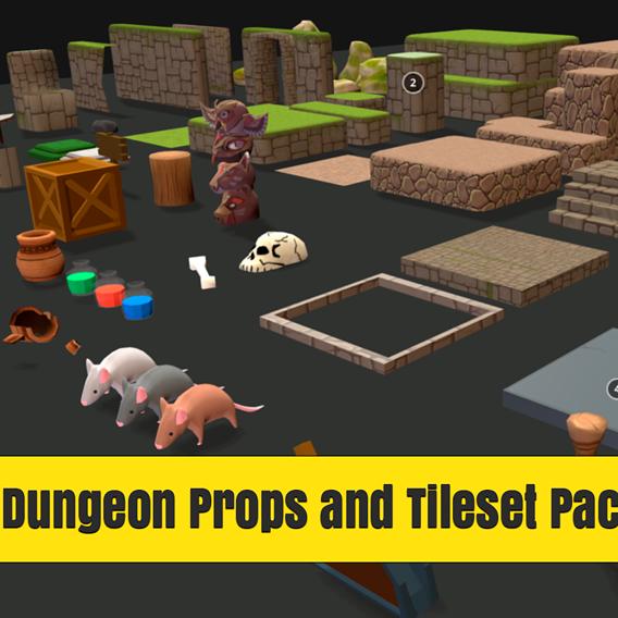 Modular Cartoon Dungeon Props and Tileset Pack