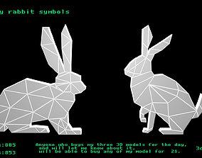 Low poly rabbit symbols 3D model game-ready