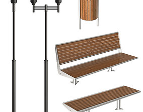 Exterior lamps and benches 3D model