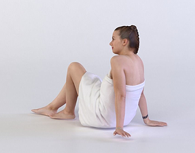 character Laura 0231 Woman resting in a bath towel 3D