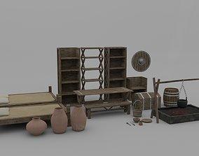3D model Medieval room furniture