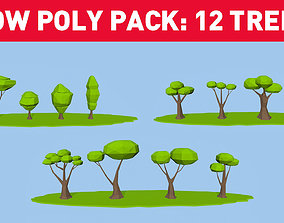 Lowpoly Trees Pack - 12 Trees 3D model