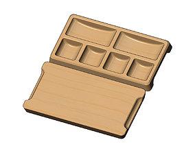 Rectangular 6 pockets serving tray 3D printable model