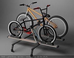 roof rack with bmx and mtb bikes 3D model game-ready