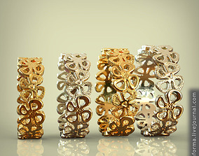 3D print model Ring set of all sizes 15 to 20 openwork