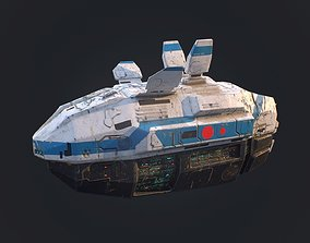 Low poly sci fi space cruiser ship 3D model