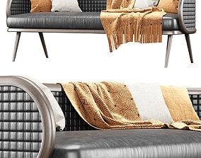 3D model Victoria leather three-seater restaurant sofa